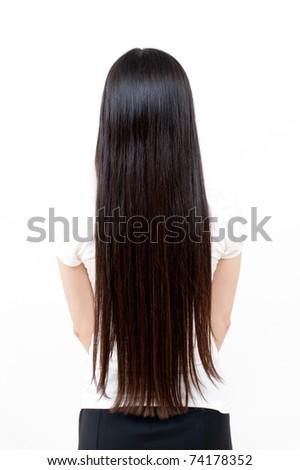 beautiful straight long hair - stock photo