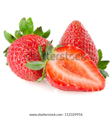 Beautiful strawberries isolated on white background. - stock photo
