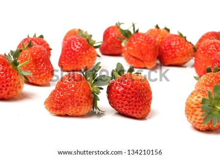 Beautiful strawberries on white background