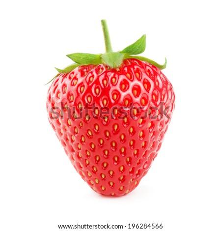 Beautiful strawberry isolated on white - stock photo