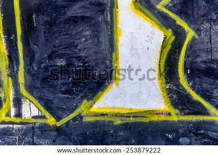 Beautiful street art graffiti. Abstract creative drawing fashion colors on the walls of the city. Urban Contemporary Culture - stock photo
