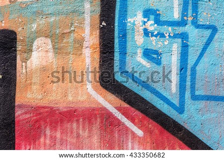Beautiful street art of graffiti. Abstract color creative drawing fashion on walls of city. Urban contemporary culture. Title paint on walls. Culture youth protest. ABSTRACT PICTURE