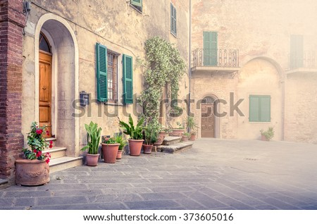 Beautiful street of captivating Montisi village in Tuscany, Italy - stock photo