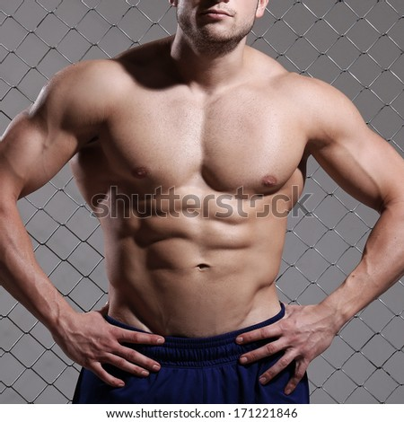 Beautiful, strong man on fence background - stock photo