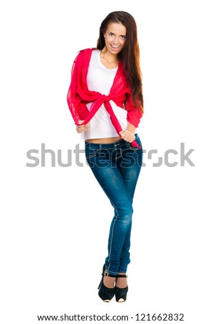beautiful student looking at the camera on a white background - stock photo