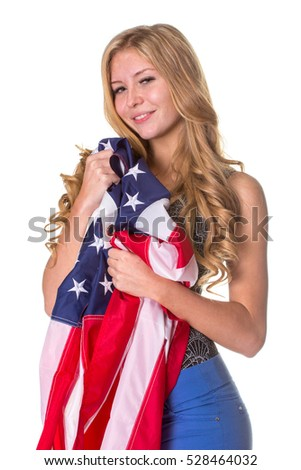 Beautiful student with Flag of United States of America. Isolated on white.