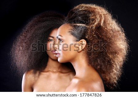 Beautiful Stunning Portrait of Two African American Black Women With Big Hair - stock photo