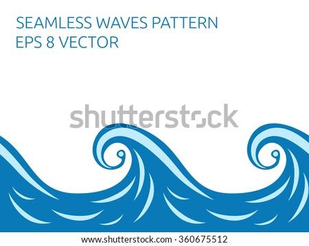 Beautiful stylish blue seamless waves pattern - stock photo