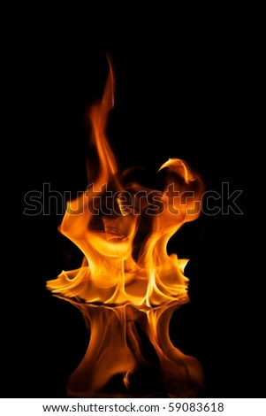 Beautiful stylish fire flames reflected in water - stock photo