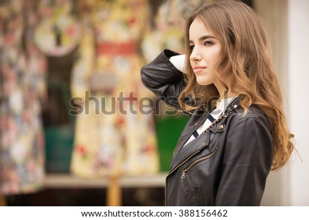 beautiful stylish girl in the city