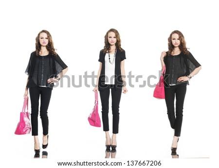 beautiful stylish three girl in jeans with bag walking-full body - stock photo