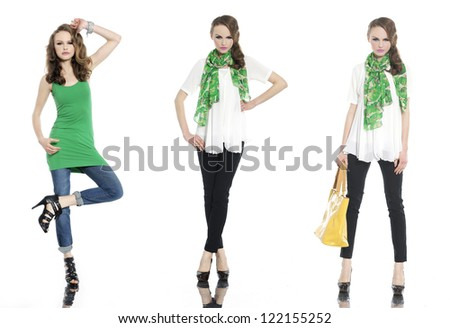 beautiful stylish three girl in jeans with green scarf posing at studio- Full length - stock photo