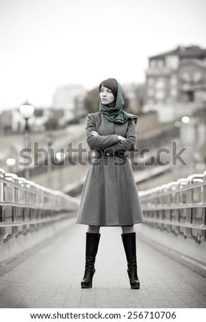 Beautiful stylish woman outdoors - stock photo