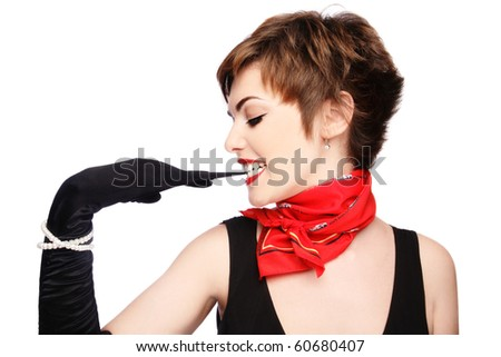 Beautiful stylish young woman in black gloves on white background