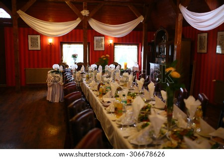 beautiful stylishly decorated hall, table, buffet, classic interior, lviv, celebration occasion - stock photo