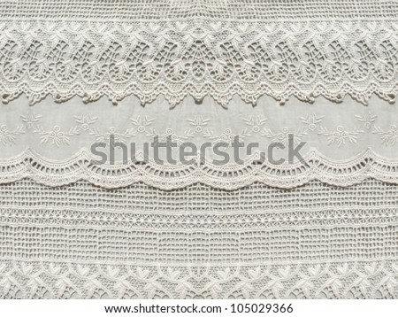 Beautiful, subtle, white laced textile close up. Good for bedroom, fashion, cloth, apparel, interior, folk, textile, ornament or background design. More of this motif & more textiles in my port. - stock photo