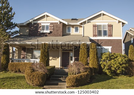 beautiful suburban luxury house at sunny day