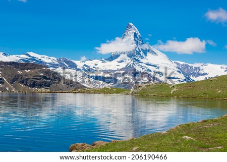 Beautiful summer Alpine mountain lake view. Matterhorn. Swiss Alps  - stock photo