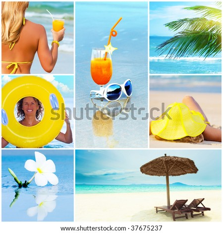 Beautiful summer collage made from tropical beach photos - stock photo
