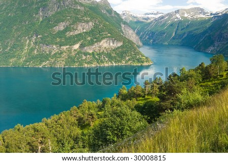 Beautiful summer fjord in Norway seem from a high viewpoint