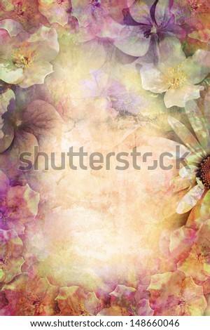 Beautiful summer flowers romantic background - stock photo