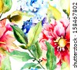 Beautiful Summer flowers, seamless pattern, watercolor illustration  - stock