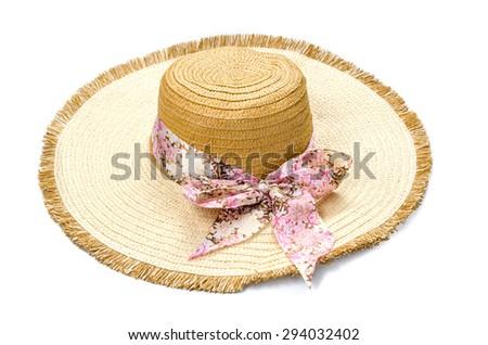 Beautiful summer hat isolated on white background - stock photo