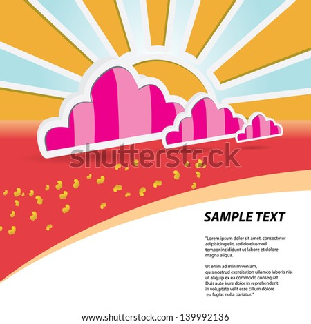 beautiful summer illustrations . summer party flyer. summer holiday background. jpeg version - stock photo