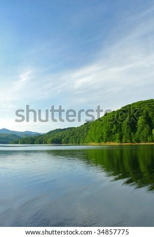 Beautiful summer lake view - stock photo