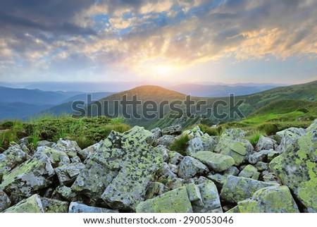 Beautiful summer landscape in the mountains. Sunset. Carpathian, Ukraine. - stock photo