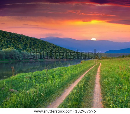 Beautiful summer landscape on the mountain river. Sunrise - stock photo
