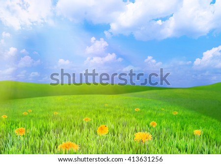 Beautiful summer landscape with green hills and blue sky - stock photo