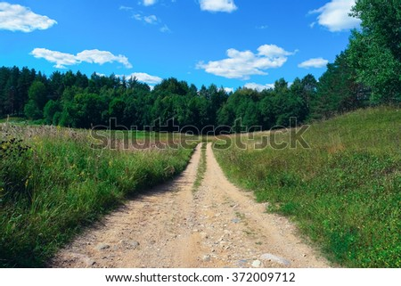 Beautiful summer landscape with sky, clouds and forest road - stock photo