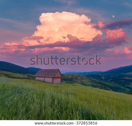 Beautiful summer mountain rural landscape. Green pasture with wildflowers at Carpathian mountains. Ukraine. Shepherds house in the middle ground. - stock photo