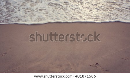 beautiful summer sand beach and sea surf, image used vintage filter - stock photo
