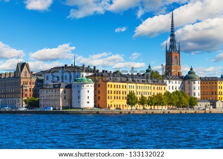 Beautiful summer scenery of the Old Town (Gamla Stan) in Stockholm, Sweden - stock photo