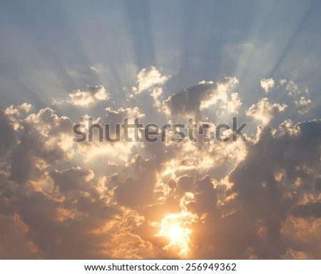 Beautiful summer sky with golden sun rays - stock photo