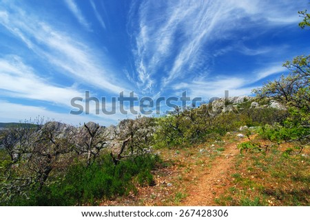 Beautiful summer sunny day with clouds. Crimea mountains. Ukraine