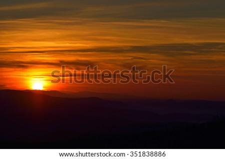 Beautiful summer sunrise in mountains - stock photo