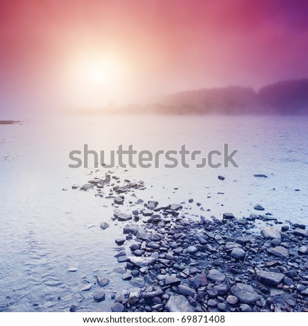 Beautiful summer sunset in the river. Evening HDR image - stock photo