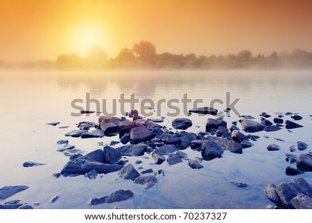Beautiful summer sunset in the river. HDR image - stock photo