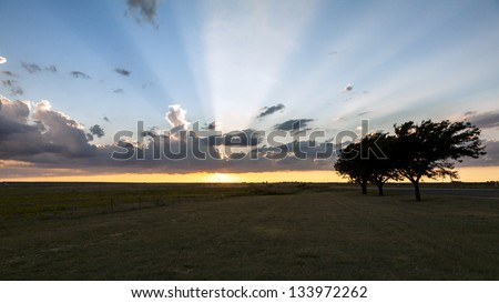 Beautiful summer sunset in western Texas. - stock photo