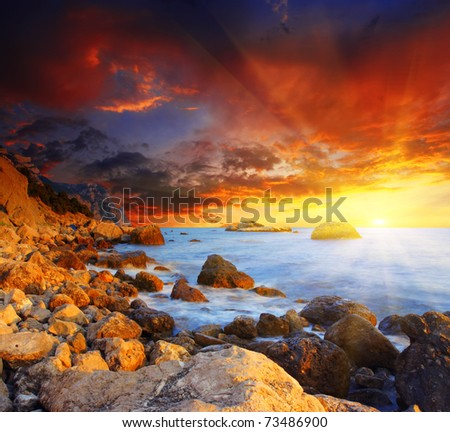 Beautiful summer sunset over the sea. HDR image - stock photo