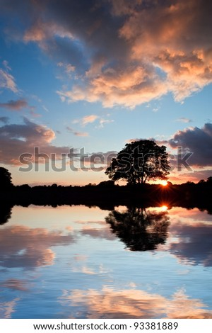 Beautiful Summer sunset silhouette reflected in still waters of lake