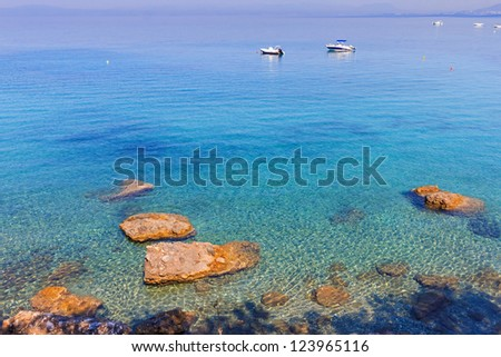 Beautiful summer turquoise water and rock landscape in Greece