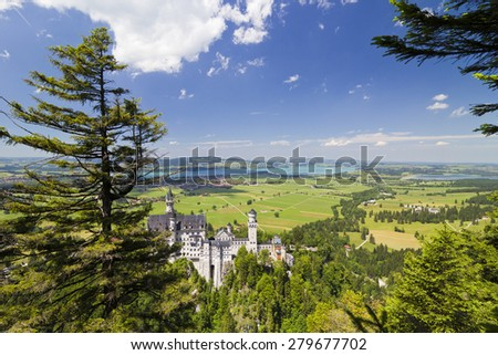 Beautiful summer view of the Neuschwanstein castle (Fussen Bavaria, Germany) - stock photo
