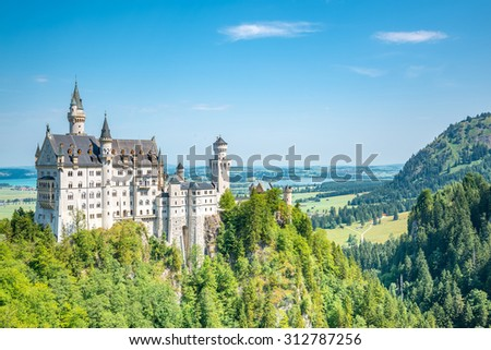 Beautiful summer view of the Neuschwanstein castle (Fussen Bavaria, Germany)