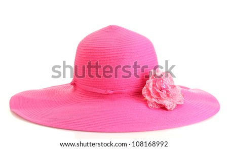 Beautiful summer woman hat with flower isolated on white background - stock photo