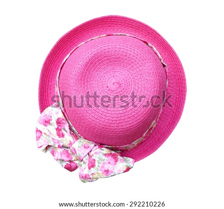 Beautiful summer woman hat with flower isolated on white background (clipping path) - stock photo