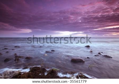 Beautiful sun-dawn. Swedish coastline. - stock photo